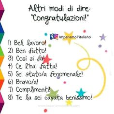 """⭐ Altri modi per dire """"congratulazioni!"""" ⭐ . . . @welearnitalian 😀 . . . . . . . . . . . . . . . 📌 #impariamoitaliano #learnitalian…"""
