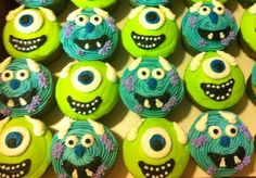 Monsters Inc. cupcakes....going to attempt these for my babies 2nd bday party