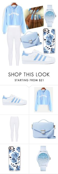 """""""Bippity Boppity Blue"""" by ayakkuot on Polyvore featuring adidas, Gozzip, Cynthia Rowley, Casetify and Lacoste"""
