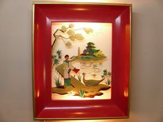 Vintage Asian reverse painted shadow box light