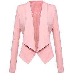 Beyove Womens Casual Work Office Blazer Open Front Long Sleeve Cardigan Jacket Pink XXL - All About Blazers For Women, Coats For Women, Jackets For Women, Women Blazer, Ladies Blazers, Blazer And Shorts, Blazer Jacket, Pink Jacket, Blazer Outfits