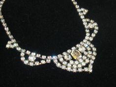 Stunning Vintage Clear Rhinestone Emerald & Round Cut Necklace Choker Silver