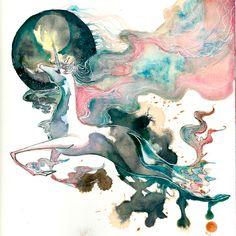 Gorgeous watercolor Last Unicorn. The Last Unicorn O Ka Fee by *RubisFirenos Fantasy Creatures, Mythical Creatures, Illustrations, Illustration Art, Unicorn Tattoos, Moon Tattoo Designs, The Last Unicorn, Unicorn Art, Unicorn Painting