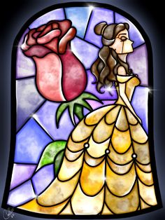 Stained Glass Belle Canvas Print