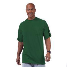 Big & Tall Champion Solid Pocket Tee, Men's, Size: L Tall, Dark Green