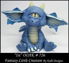 Fantasy Cyclops Dragon DollHouse Art Doll Polymer Clay CDHM OOAK IADR Ist Mini #KabiDesigns