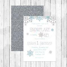 Our Little Snowflake First Birthday Invitation or Evite - Frozen Invitation - Winter Wonderland - Winter Onederland - Silver glitter by LemonberryMoon on Etsy