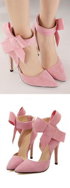 Pink Detachable Bow Embellishment High Heeled Pumps