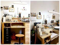Mark Nuell Studio visit in London — Space Unseen Shop Organisation, Jewelers Workbench, Clear Desk, Concrete Jewelry, Workshop Studio, Wood Tray, Bar Chairs, Corner Desk, Studio Spaces