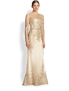 Notte by Marchesa Floral & Lace Mermaid Gown A Saks. Comes in Navy Taupe,which is the color I would choose