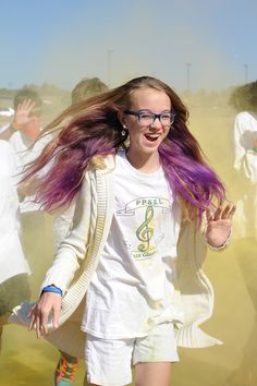 Eighth-grader Katiana Hanson, 13, participates in a color run Sept. 25 at Pikes Peak School of Expeditionary Learning.  The PPSEL Parent Teacher Organization sponsored the run as their big fundraiser for the year. There was an entrance fee, and donors pledged for the students who participated. Principal Don Knapp said the run incorporated PPSELS holistic program, keeping students active and incorporating physical education as a life skill.
