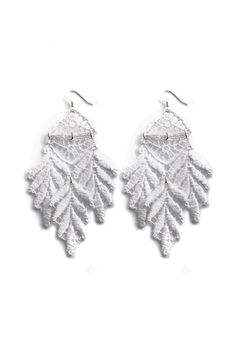 elegant white lace earrings by White Rabbit Days Lace Earrings, Feather Earrings, Crochet Earrings, White Chiffon, White Lace, Blue And White, Indie Fashion, Fashion Outfits, South African Fashion