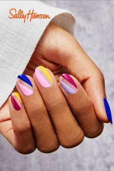 Looking for Spring Mani Ideas? Try this new sharp stripes 🔥 mani by Sally Hansen® Xtreme Wear®. What you need: Pacific Blue, Mellow Yellow, Lacey Lilac and Pep-plum 👌. Bright Summer Acrylic Nails, Best Acrylic Nails, Acrylic Nail Designs, Sally Hansen, Gel Nails, Nail Polish, Acryl Nails, Pin On, Minimalist Nails