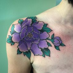 "therealjonftw: "" Peony on the shoulder for @jessie_mjd thank you!! (at Tradition Tattoo) "" Jon FTW"