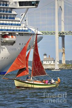 Newport, Rhode Island, Caribbean Princess Cruise Ship, Newport Bridge, Rose Island Lighthouse and sailboat.