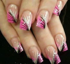 Pink black silver and white nails. Love!