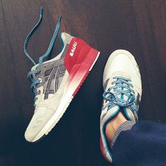 "ASICS | Asics Gel Lyte III. ""Colorway is ill; the gradient cream to red and grey with the blue accents in the laces!""."