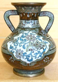 Japanese Cloisonne Finely Executed Ikebana Vase with Handles, Meiji Period
