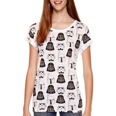 Star Wars Short-Sleeve Allover Print T-Shirt ($13) ❤ liked on Polyvore featuring tops, t-shirts, galaxy tee, galaxy print top, short sleeve tee, pink top and all over print t shirt