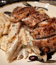Creamy Grilled Lemon Chicken Piccata ~ Juice of 1 lemon, 3T, 3 T olive oil, 1 T minced garlic, 1 t salt, 1/4 t pepper, 1/2 t basil or oregano, 2 boneless, skinless chicken breasts. Pasta: 2 c dried penne pasta, 2 T butter, Juice of 2 lemons, 6T, 1 T minced garlic, 1/2 c half & half (or heavy cream), 2 t dried basil, 2 T capers,  1/2 c grated parmesan cheese.