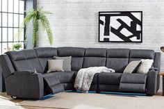 Phoenix 6 Seater Fabric Theatre Corner Lounge Suite by Synargy Sectional Sofa With Recliner, Reclining Sectional, Modular Lounges, Modular Sofa, Corner Sofa Set, Lounge Suites, Buy Sofa, Living Spaces, Phoenix
