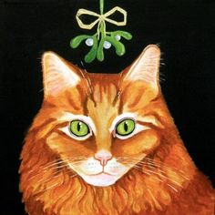 A Christmas card for cat lovers. This Maine Coon under the mistletoe card is blank inside and suitable for the festive session. Printed by Art Cove UK.