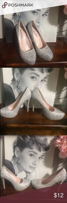 Glam heels! 👠 Silver jeweled 5 inch heel. In great condition only worn for prom. Your Party Shoes Shoes Heels