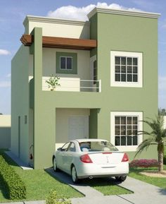 Fachadas de casas sencillas de 2 pisos