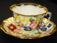Hammersley Bright Poppy Mixture  Tea cup and saucer
