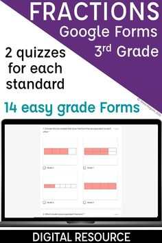 Assess and review the 3rd grade fractions standards with these quizzes. There are two assessments per standard- perfect for a pre and post assessment or to reassess after reteaching or intervention. Skills included: introducing fractions, fractions on a number line, equivalent fractions, whole numbers as fractions, fractions greater than 1, and comparing fractions. Plus, continue to reinforce and review fractions with the spiral review forms also included! 3rd Grade Fractions, Teaching Fractions, Equivalent Fractions, Math Fractions, Comparing Fractions, Dividing Fractions, Multiplication, Maths, Introduction To Fractions