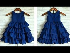Diy Designer Ruffled Baby Frock For 3 To 4 Year Cutting & Stitching Full Tutorial - Watch Video Baby Frock Pattern, Frock Patterns, Baby Girl Dress Patterns, Baby Girl Frocks, Frocks For Girls, Baby Frocks Designs, Kids Frocks Design, Girls Dresses Sewing, Dresses Kids Girl