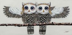 2 owls in love Bird, Canvas, Animals, Owls, Products, Tela, Animales, Animaux, Birds