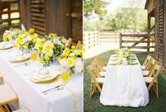 Southern Weddings, Ryan Ray. Beautiful white tablecloth with lemon accents