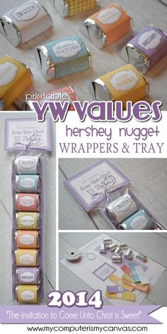 My Computer is My Canvas: YW Values & 2014 Theme Nugget Wrappers & Tray! #Valentines #BirthdayParty #Wedding