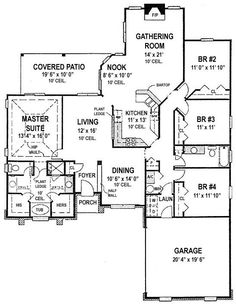 4 bedroom - I love the way the bathroom in this floor plan is set up for the master suite. I also like the master bedroom being on the other side of the house. Dream House Plans, House Floor Plans, My Dream Home, Building Plans, Building A House, Nook, Build My Own House, Welcome To My House, Bedroom Floor Plans