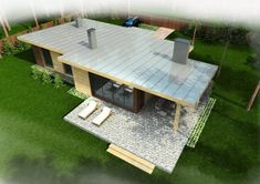 Timber frame house #061 | | EcoHouseMart Shed Homes, Prefab Homes, Cabin Homes, Exterior Doors, Interior And Exterior, Backyard Sheds, Timber Frame Homes, Small House Design, Metal Buildings