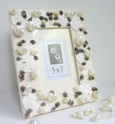 Beach Decor Seashell Frame -  Nautical Frame w Black and White Shells -  5x7