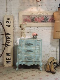 Painted Cottage Chic Shabby Aqua Night Table by paintedcottages, $195.00