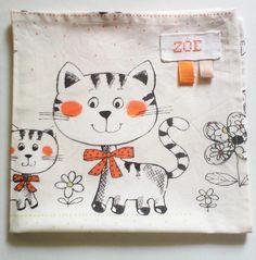 """serviette de table enfant no 27 ,personnalisable , en coton imprimé :""""mes petits…"""