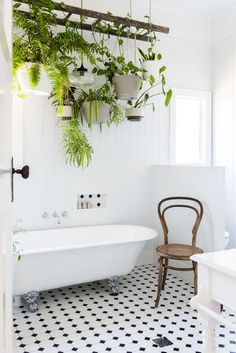 Ways To Use That Room Below Your Stairs Bathroom Design Ideas For Your Home From Boldly Tiled Floors To Chandeliers, These Beautiful Bathrooms Offer Enough Design Inspo To Jumpstart A Year's Worth Of Diys And Remodels Apartment Therapy Hanging Plants, Indoor Plants, Diy Hanging, Indoor Outdoor, Hanging Scale, Hanging Ladder, Diy Ladder, Indoor Gardening, Outdoor Decor