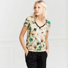 T-shirt imprimé fleurs, Femme