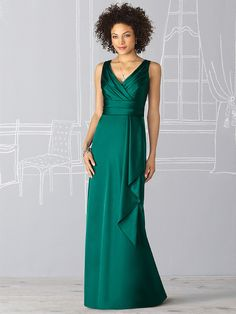 Long evening dress in emerald green with cascading ruffle accent for bridesmaids & maid of honor from After Six (Style: 6625).