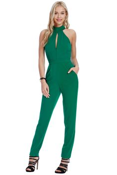 Sleeveless jumpsuit with keyhole cutout front and cutout back. Front pockets. Stretchy scuba crepe material. Side seam length from underarm to hem is 120cm.    92% Polyester 8% Elastane | Shop this product here: spree.to/bmp9 | Shop all of our products at http://spreesy.com/amoddoma    | Pinterest selling powered by Spreesy.com
