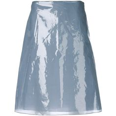Jil Sander vinyl a-line skirt (2.085 RON) ❤ liked on Polyvore featuring skirts, blue, high rise skirt, vinyl skirts, high-waist skirt, a-line skirts and jil sander