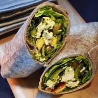 Pesto-Peach Chicken Salad Wraps (Or turn it into a salad to cut the carbs!!)