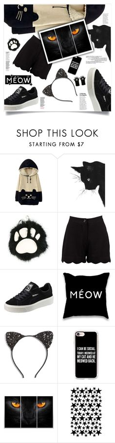 """Today Im a Cat"" by nata0 ❤ liked on Polyvore featuring WithChic, STELLA McCARTNEY, Boohoo, Puma, Cara, Casetify, WALL, Accessorize and catstyle"