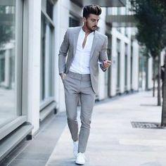Suit fashion - Men's Classic Solid Color Slim Suit Set Mode Costume, Slim Suit, Mens Tailored Suits, Mens Casual Suits, Grey Suit Men, Grey Suits, Grey Tux, Blazers For Men Casual, Casual Blazer
