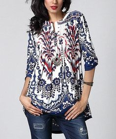 Reborn Collection Blue & Orange Floral Notch Neck Pin Tuck Tunic | Floral, Orange and Ps