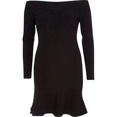 Black bardot drop hem dress #riverisland