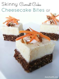 Skinny Carrot Cake Cheesecake Bites: This recipe is skinny, gluten free, no-bake, 5 minute prep, and a whole lot of carrot cake yummyness.DAMY Members: Two squares is a treat. Carrot Cake Cheesecake, Cheesecake Bites, Cheesecake Recipes, Cheesecake Squares, Vegan Cheesecake, Raw Desserts, Just Desserts, Delicious Desserts, Dessert Recipes